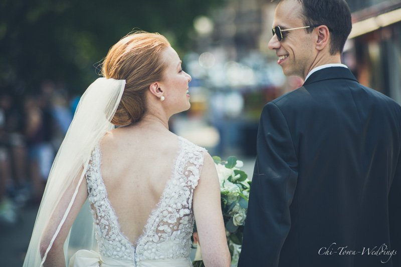 Bride and Groom candidly walking away from camera chicago