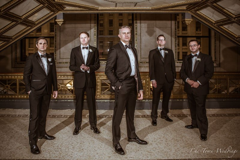 Groomsmen posing at the cultural center chicago