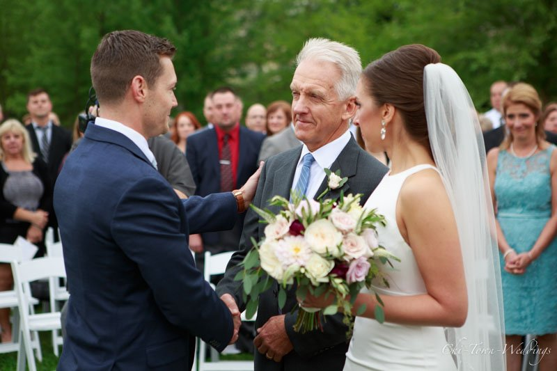 Father giving away his daughter to the Groom
