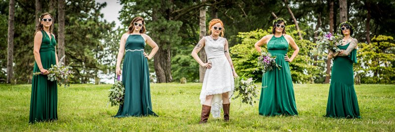 Bridesmaids posing looking cool