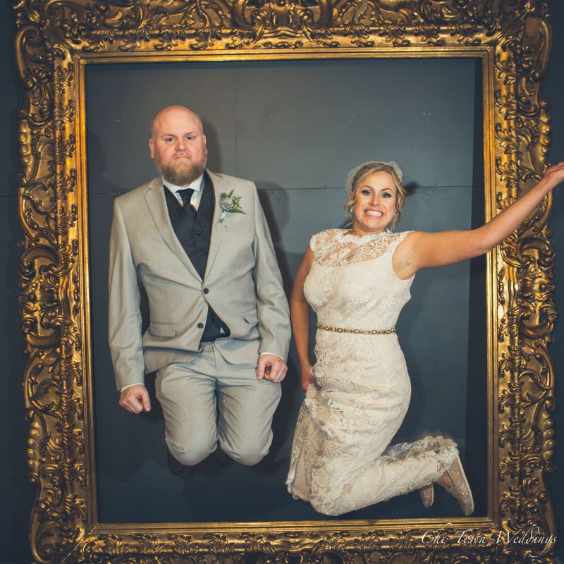 Bride and Groom jumping into a frame