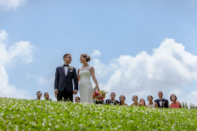 Bride and Groom on a grassy hill with wedding party walking up behind them