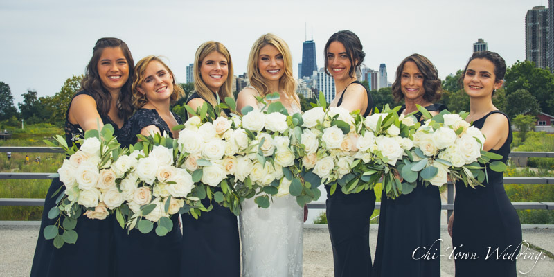 www.Chi-Town-Weddings.com  Bridesmaids Chicago skyline